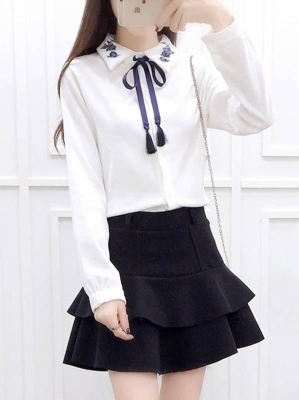 Long Sleeve Blouse + Cake Short Skirt