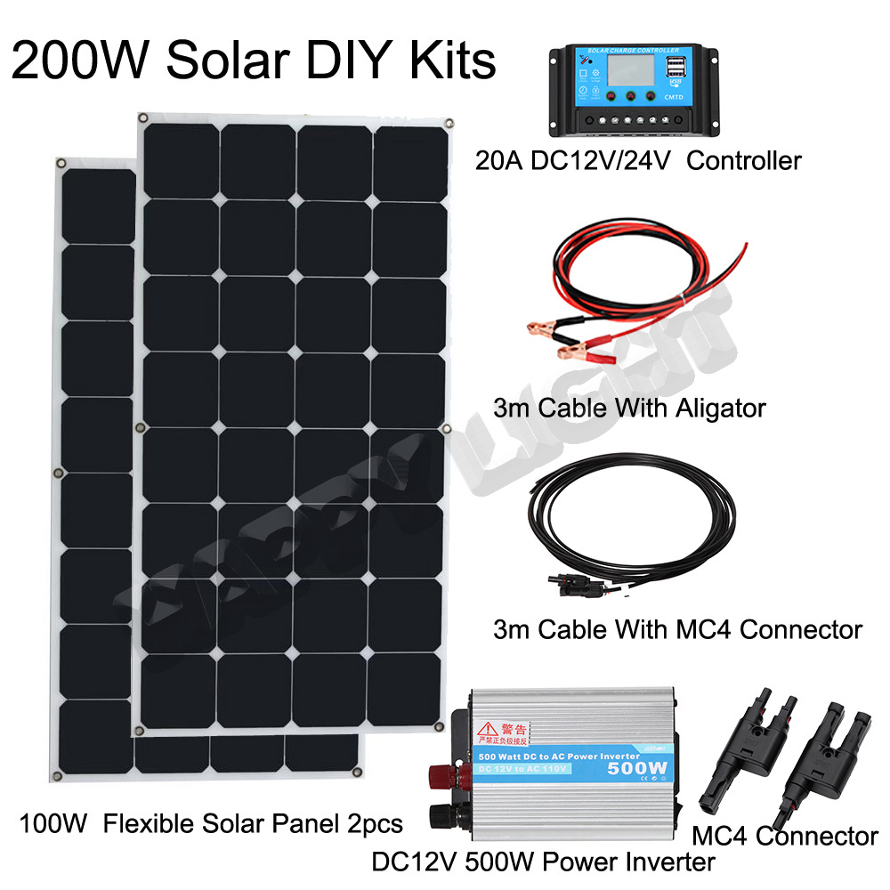 200W DIY SOLAR PANEL SYSTEM FOR HOME USE