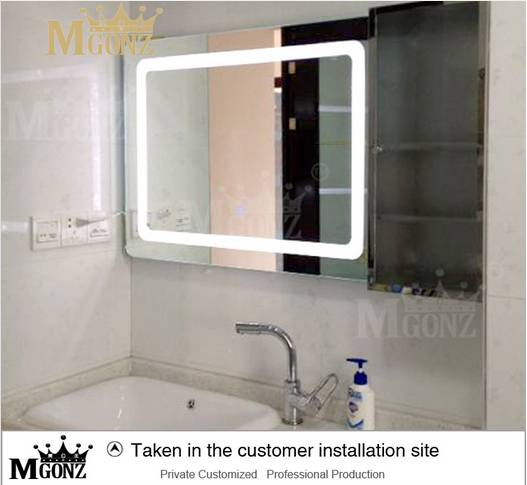 Mgonz with touch switch led anti-fog bathroom mirror double switch