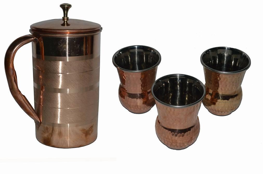 Raghav India 100% Genuine Pure Copper Stlish Design Copper Jug 1.6 Litre Capacity + 3 Punjabli Glass