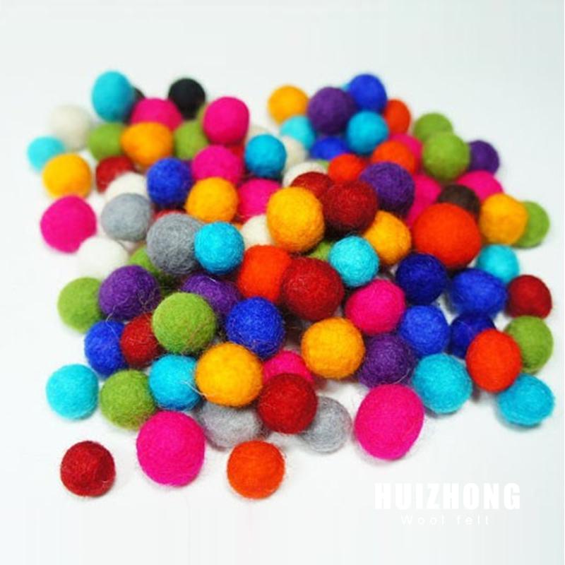 Colourful handmade New Zealand wool felt balls ,DIY felted balls
