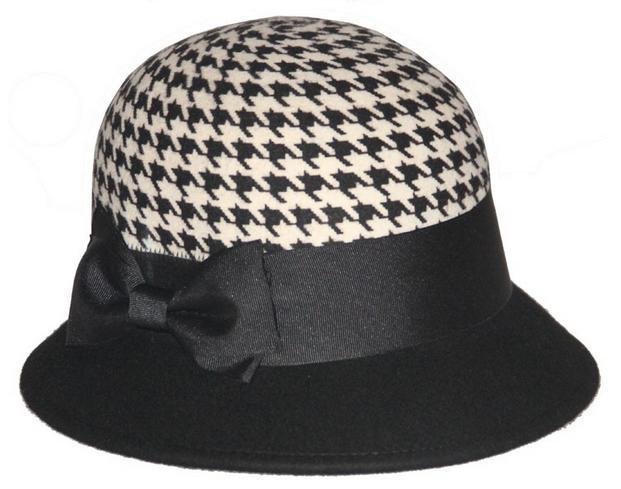100% WOOL FELT camel printed BOWLER HAT