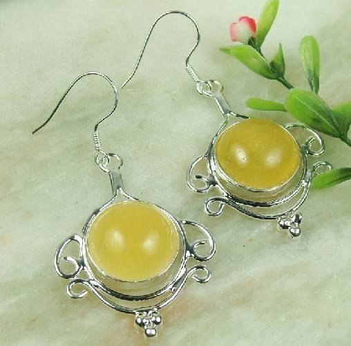 925 Sterling Silver Yellow onyx Gemstone earrings