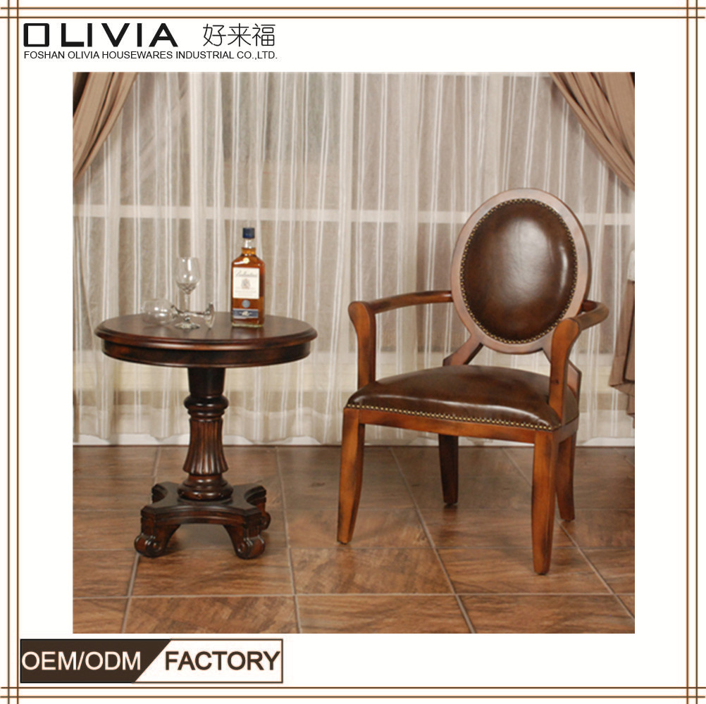 Antique Leather Chairs With Armrest Table Set Manufacturer