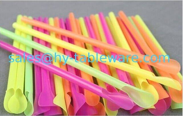 Ø 6mm / 20 cm Plastic disposable spoon straws , assorted neon color