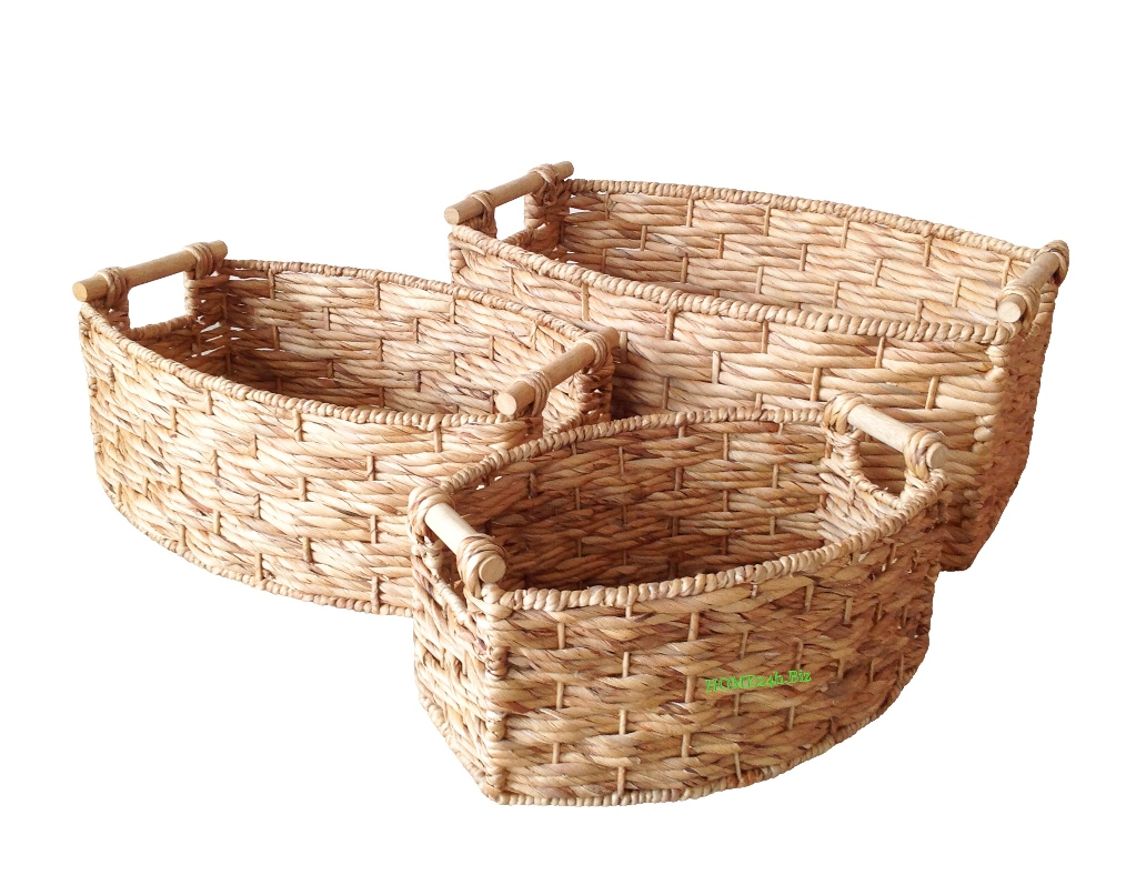 Best selling Water Hyacinth Baskets with wooden handle S/3