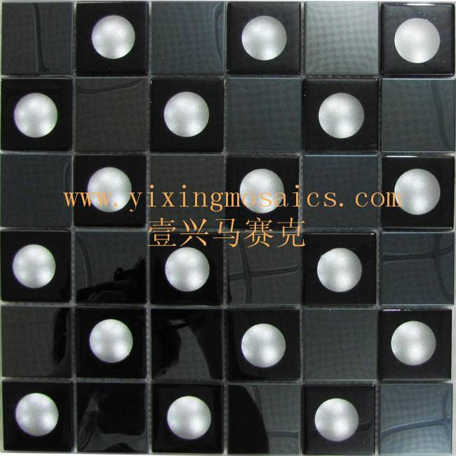 3D effect glass mosaic tiles mix metal mosaic for wall decoration