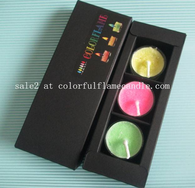Colored flame candle with gift box
