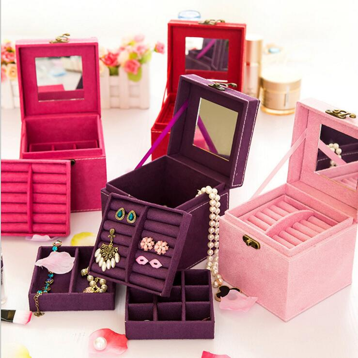 Singapore market fashion velvet jewelry ear ring storage case small make up case with mirror
