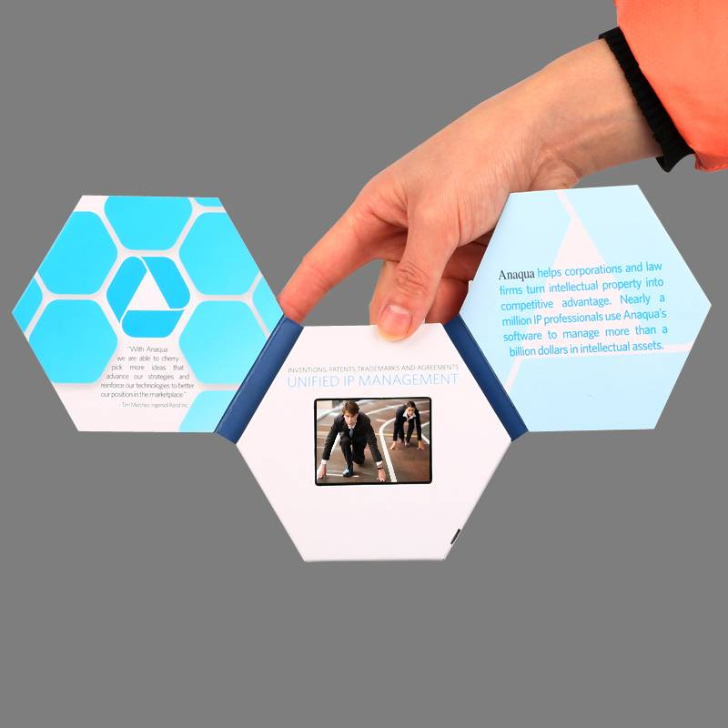 "2.4"" hexagon video greeting card for  business gift"