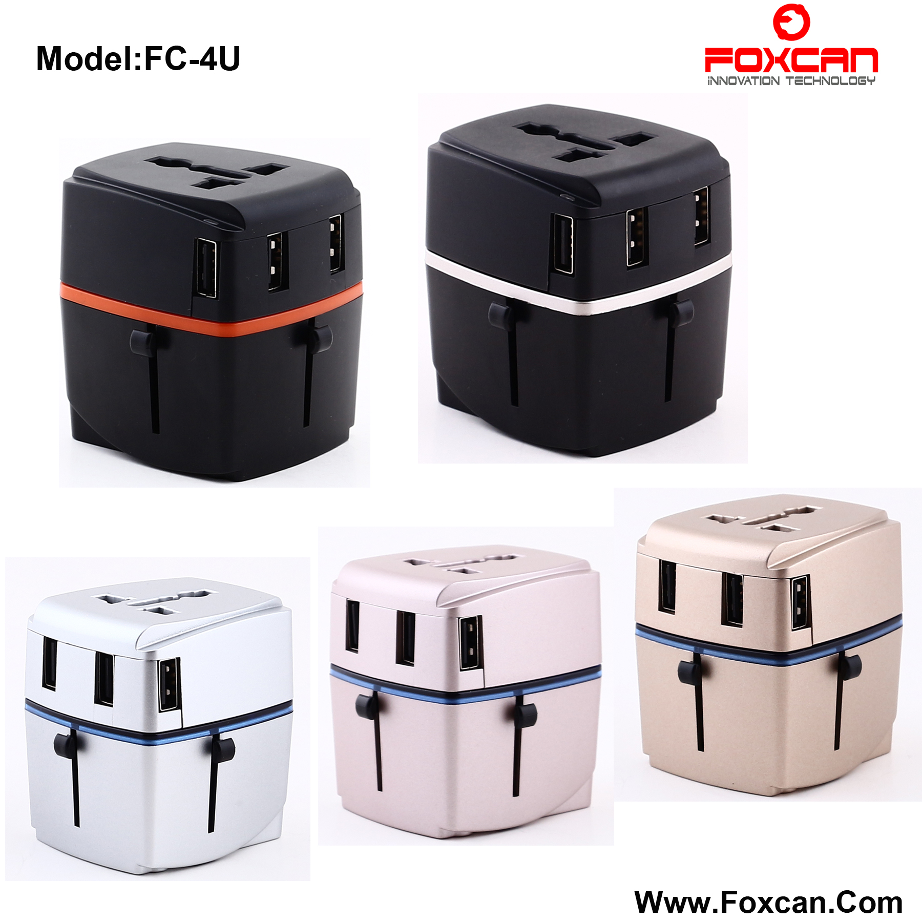 Univesal Travel Adapter with Four USB 3.4A Chargers
