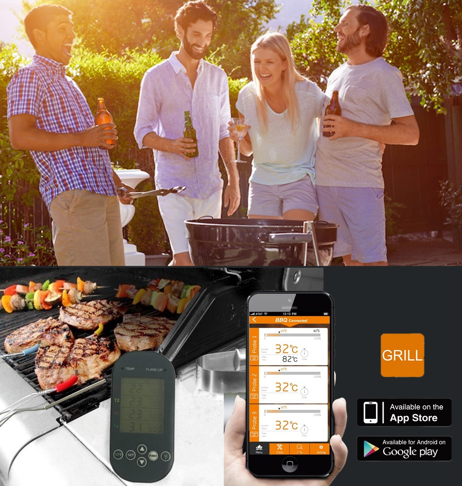 Bluetooth Meat Thermometer for Garden Barbecue