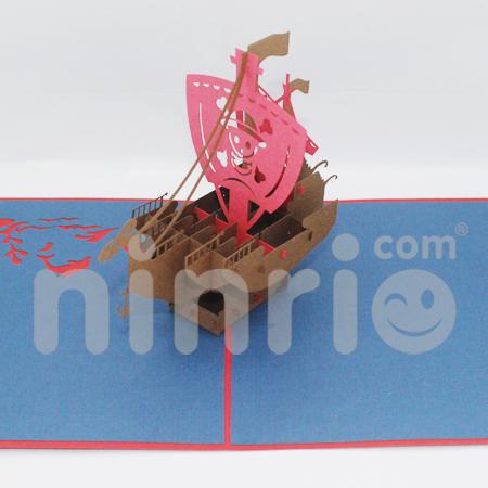 Virking ship Pop Up Card Handmade Greeting Card