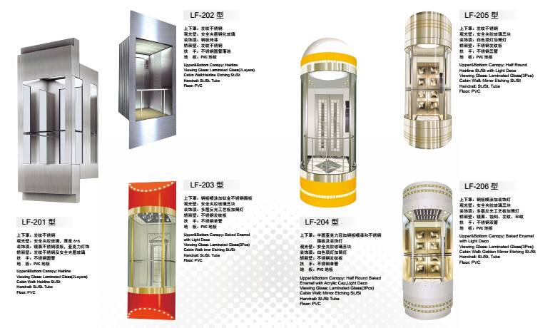 Passenger Elevators Elevator Type and AC Drive Type panoramic glass elevator