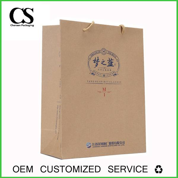 high quality hangdling custom made kraft paper packing bag