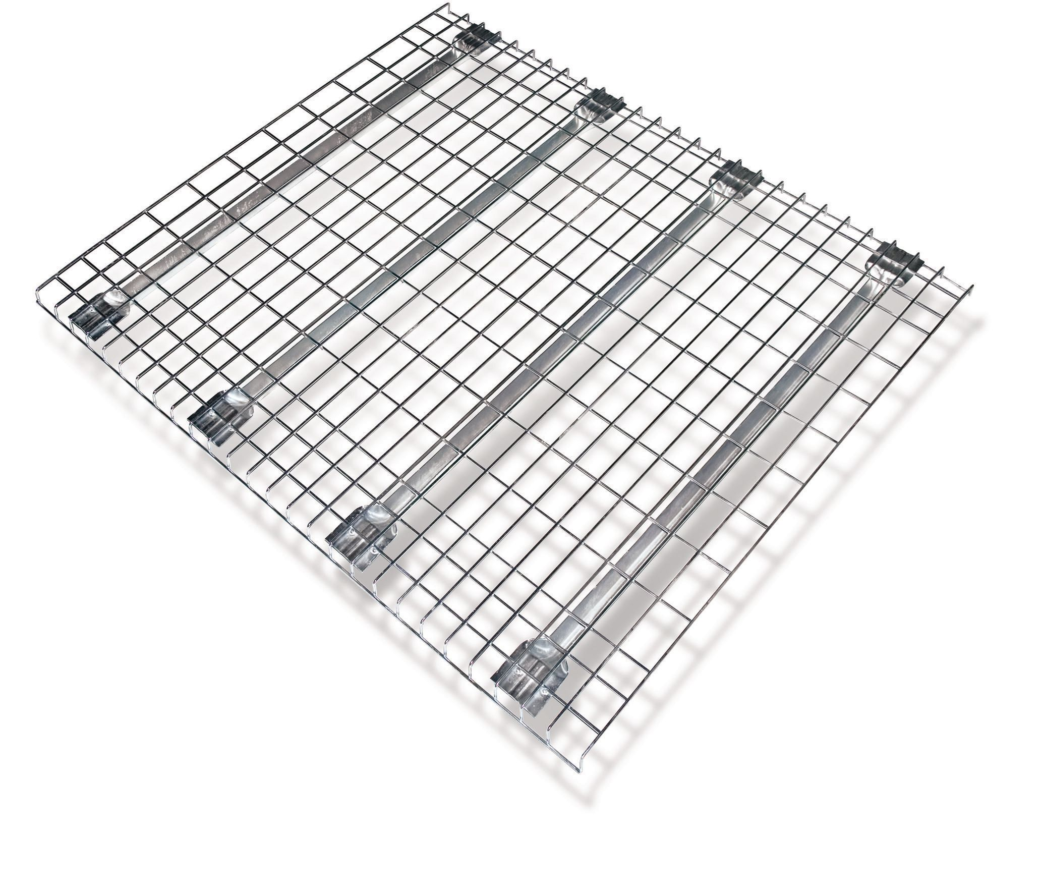 Pallet rack shelving wire mesh decking