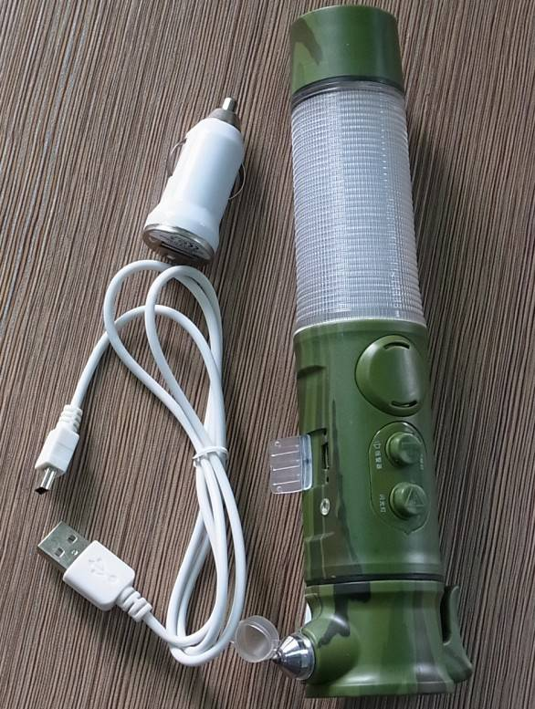 Rechargeable multifunction sound and light alarm flashlight
