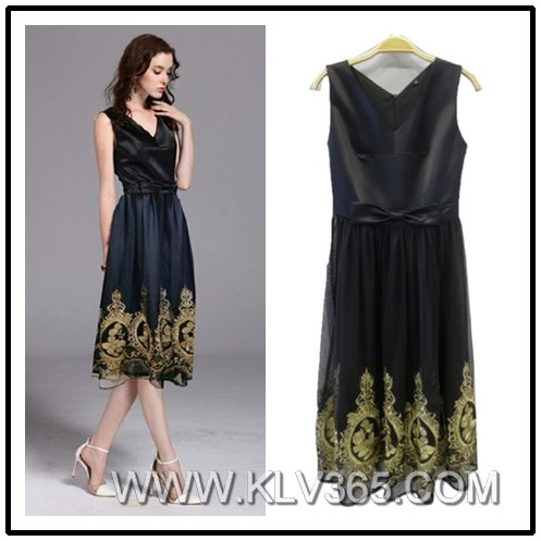 Ladies Fashion Summer Sleeveless Embroidered Party Dress