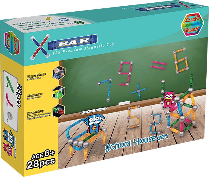 X-BAR SCHOOL HOUSE Educational magnetic block toy