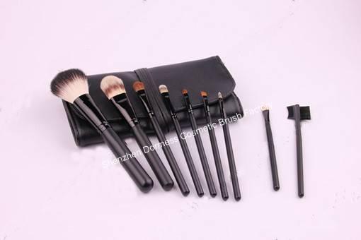 9-piece Travel Cosmetic/Makeup Brush Set,Goat, pony and nylon hair,Wood Handle,Aluminum Ferrule
