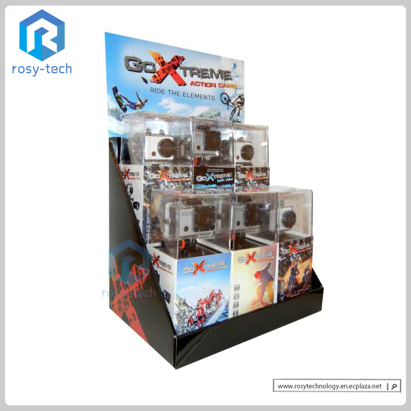 Two Tiers Paperboard Creative Display Stand Electronic Product Display For Camera