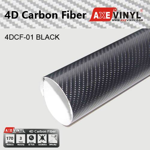 Axevinyl Factory Direct Sale Car Wrap Vinyl Premium Quality Black 4D Gloss Carbon Fiber Vinyl Wrap F
