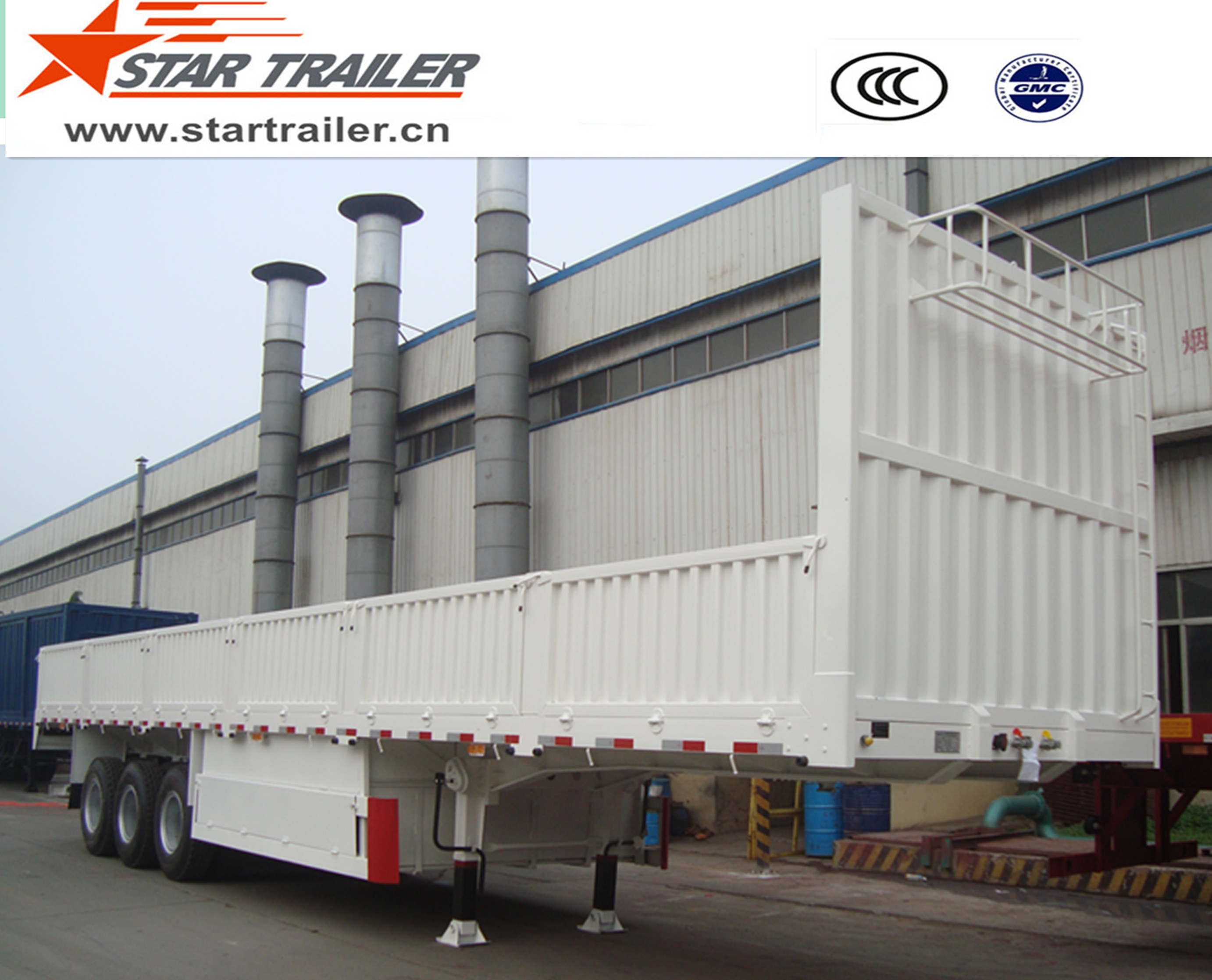 3 Axles Side Wall Flatbed Trailer