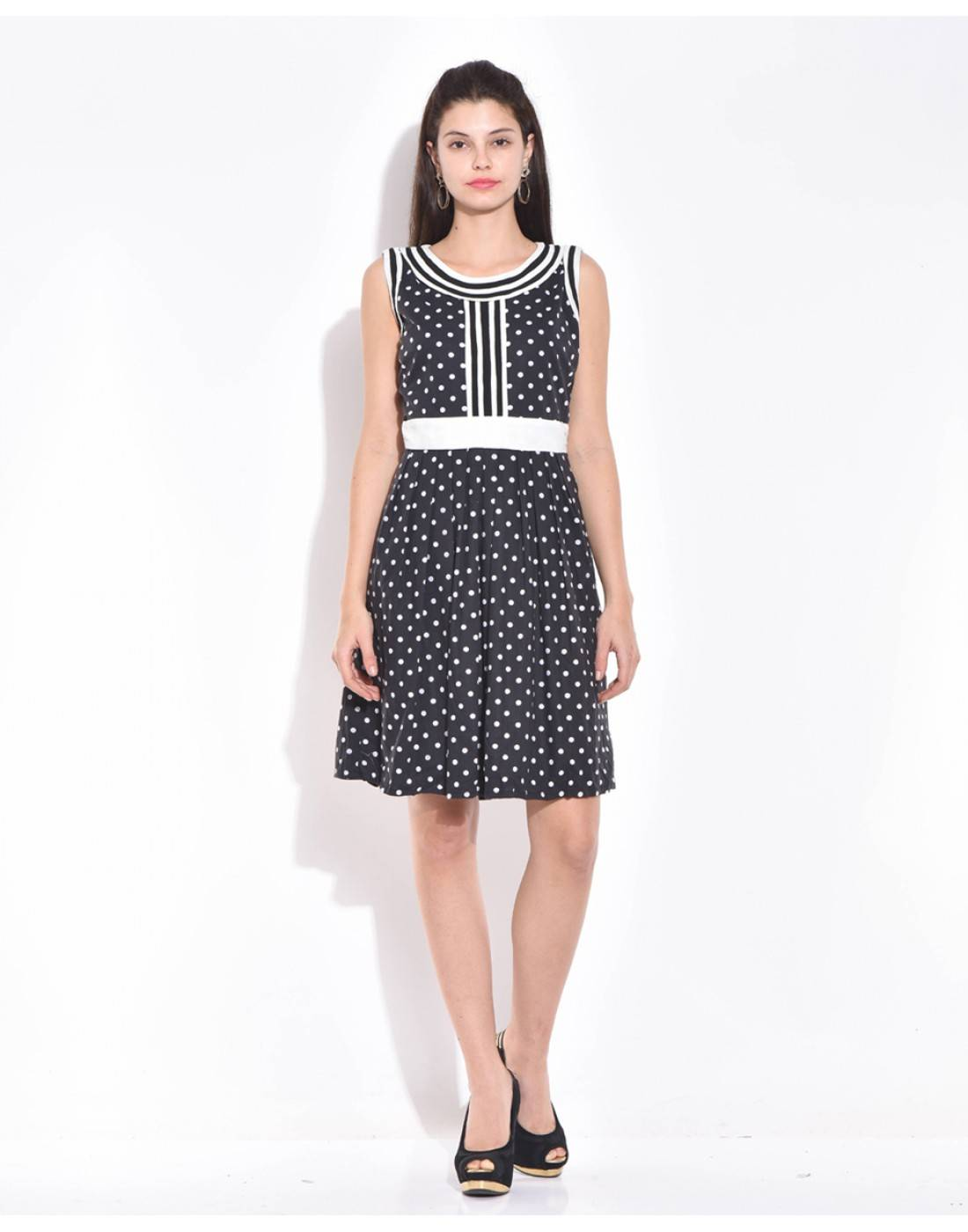 Black-White Polka Dot Dress