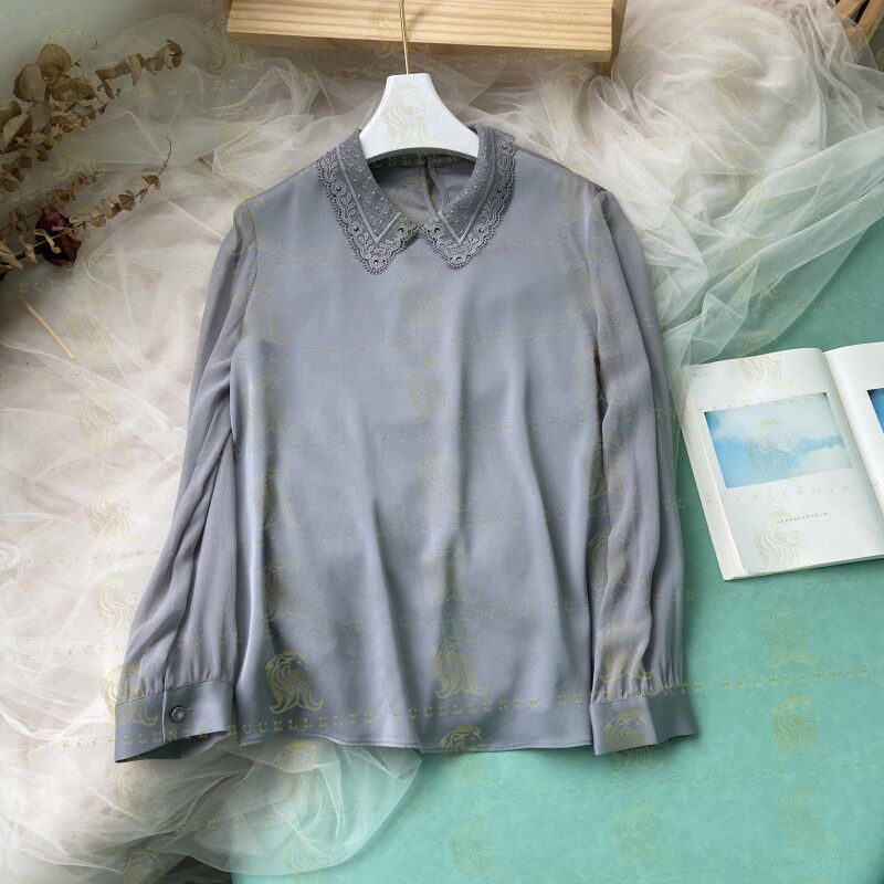 Silk Shirt with Lace Collar