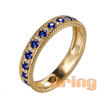 Wholesale 18k Gold Jewelry Sapphire Rings solid gold jewelry