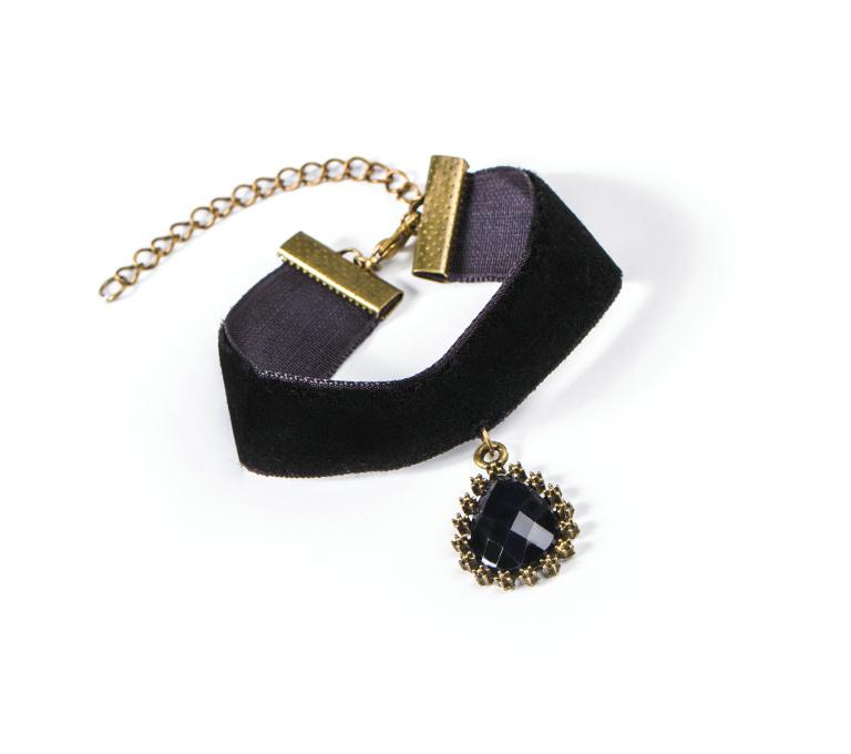 Gothic Style Women Velvet Lace Alloy Gemstone Charm Bracelet