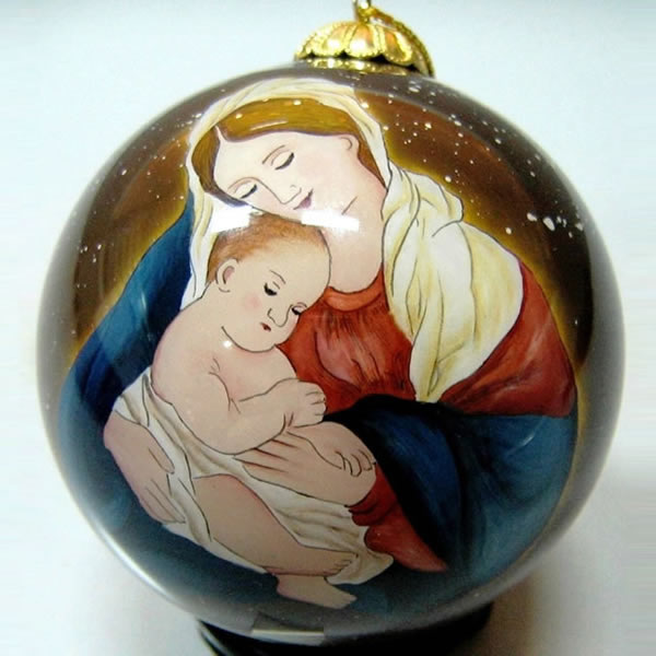 Hand Painted Glass Christmas Tree Ornaments