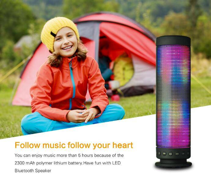 CKLON Hi-Fi Portable Wireless Bluetooth 4.0 Speaker 5 LED Light Visual Display Mode Powerful Sound w