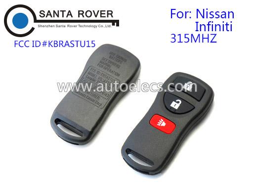 Fake Key For 2002 - 2005 Nissan Infiniti Remote Control 3 Button 315Mhz KBRASTU15
