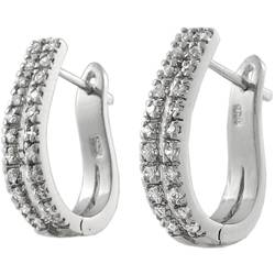Sterling Silver Cubic Zirconia Hoop Earrings,925 silver jewelry,fine jewelry