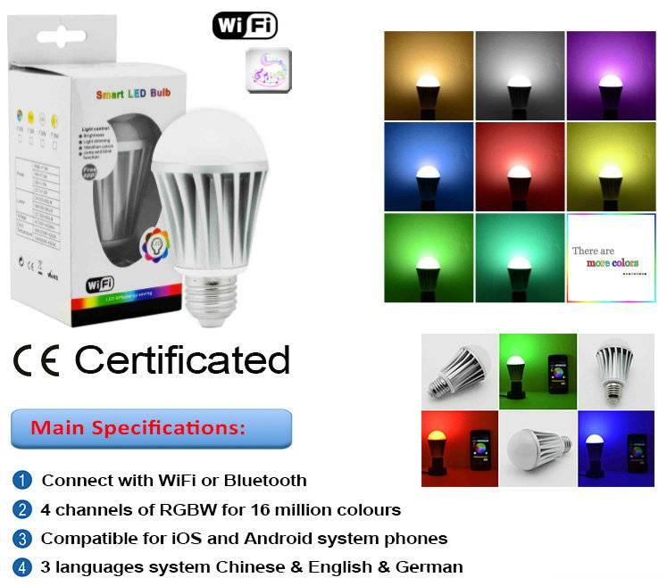 Bluetooth iphone/ipad lighting RGBW LED bulb E27 7w
