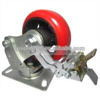 5 inch brake medium duty caster with Polyurethane/Cast Iron