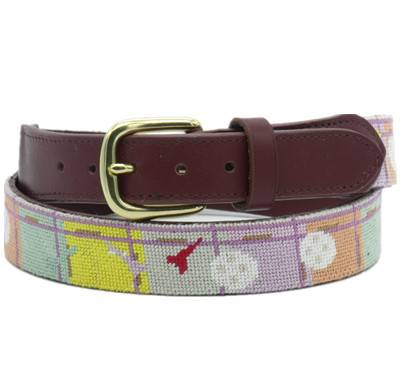 Golf tee needlepoint belts with solid brass buckle and red leather color