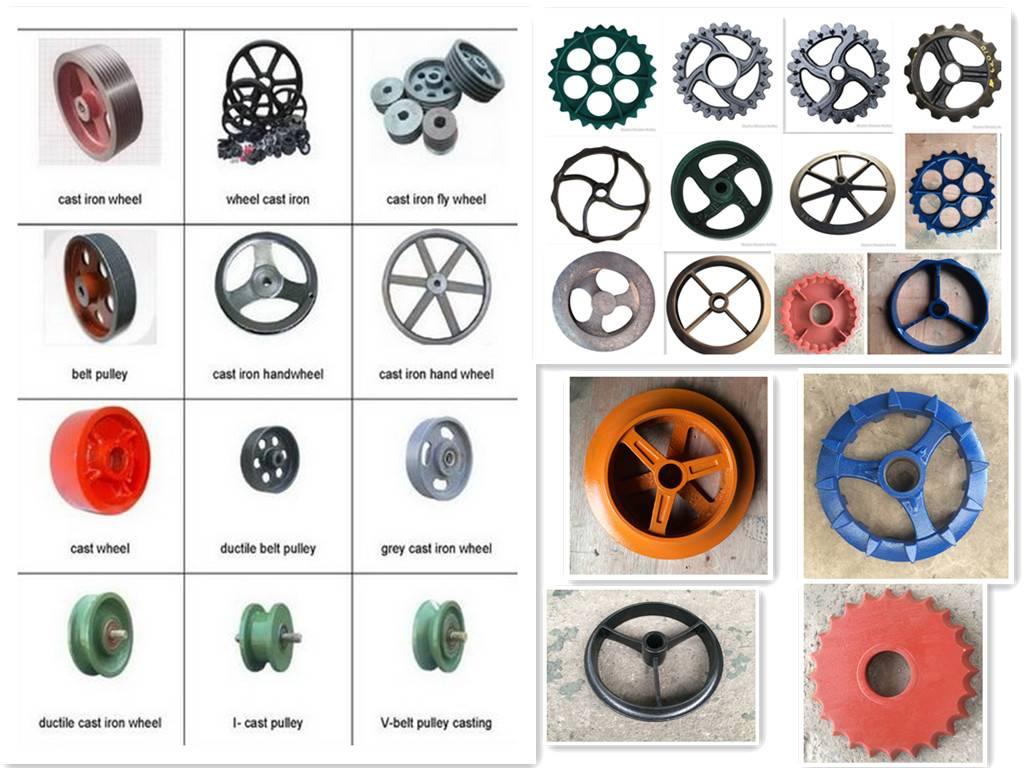 Cast Iron Mechanical transmission gear, flywheel, pulley, castor