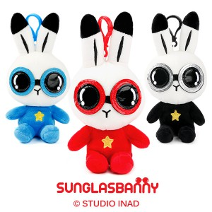 bunny plush toy with sunglasses with key ring