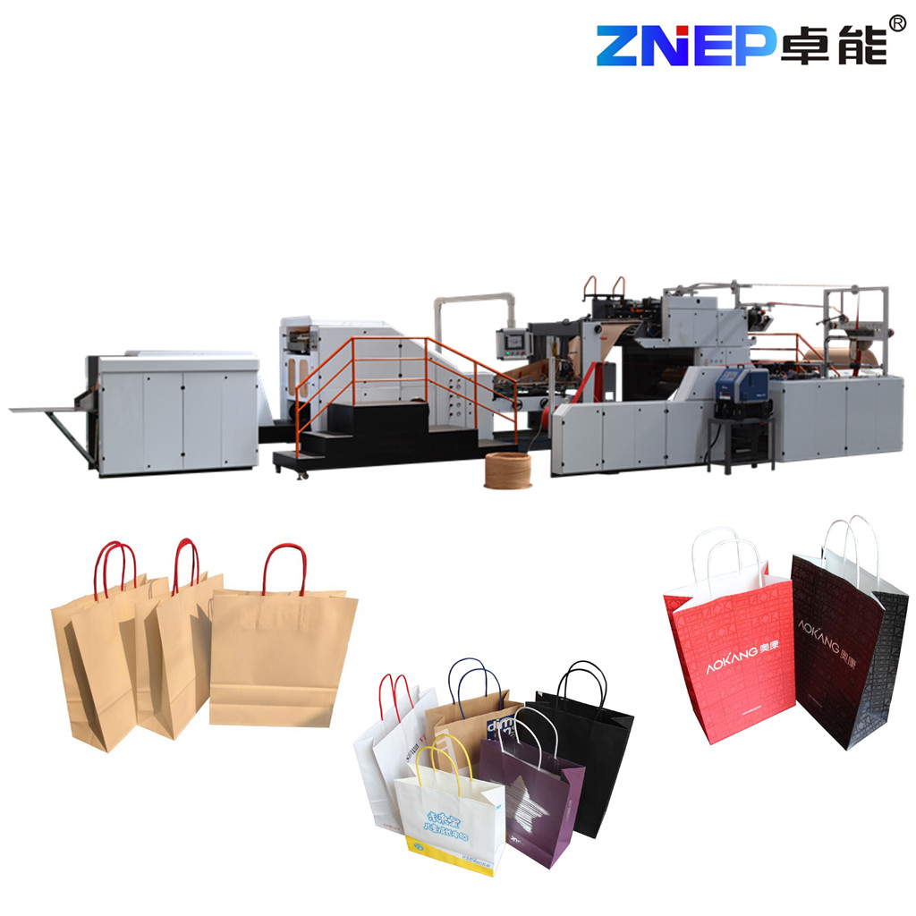 ZD-F550Q Fully Automatic Paper Shopping Bag Making Machine with Twisted Rope Handles Inline