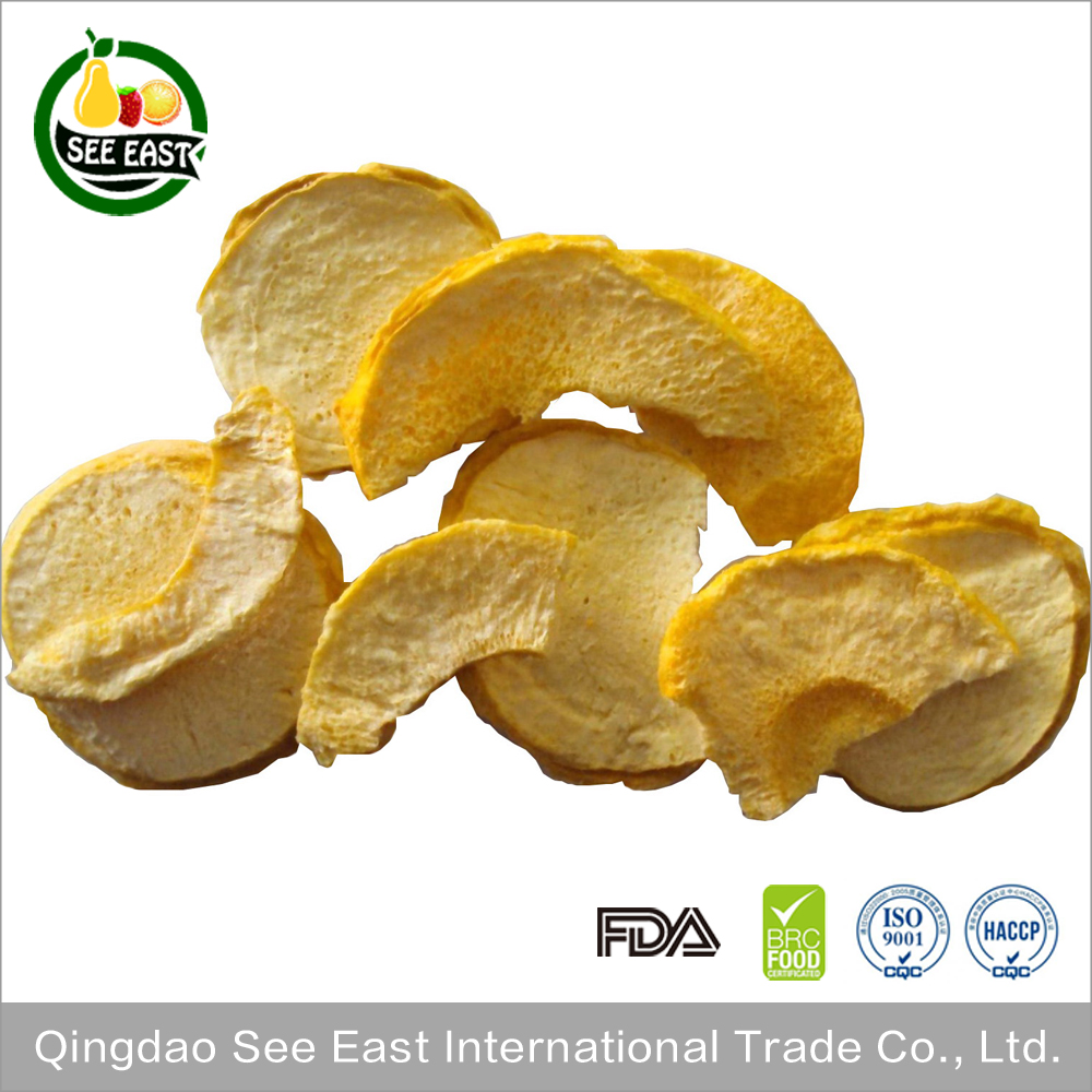 Low fat healthy snacks OEM Welcome Freeze Dried Peach Chips 5-7mm