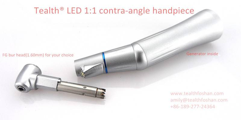 Tealth® LED 1:1 low speed push button contra-angle handpiece