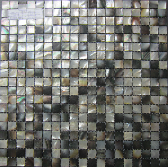 Square Black Lip Shell Mosaic Tiles, Ceilings, Columns, Furniture