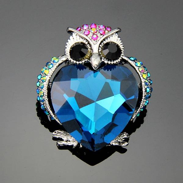 Super Cute blue owl fashion jewelry women's bra pin animal brooches free shipping ag023