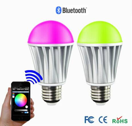 E27 7W Bluetooth Control Smart LED RGB Color Bulbs Light Lamps For Android IOS