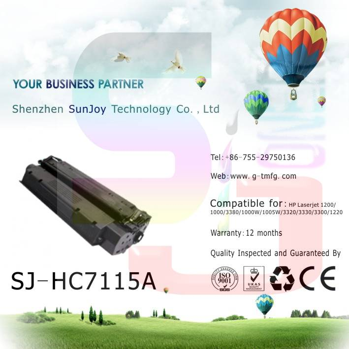 Sunjoy 15X toner cartridge C7115X compatible for HP Laserjet 1000 1000W 1005W 1200 1220