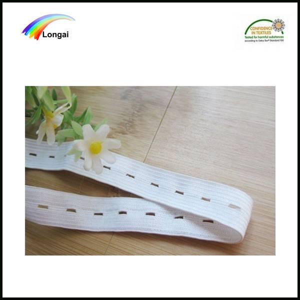 garment use white polyester elastic webbing band with button hole wholesale