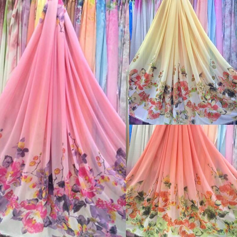 White color goldfish exclusive custom printed chiffon dress Ru skirt costume fabric