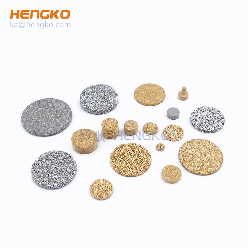 Sintered porous metal filter disc, cup, tube, plate and other assemblies for particles removal